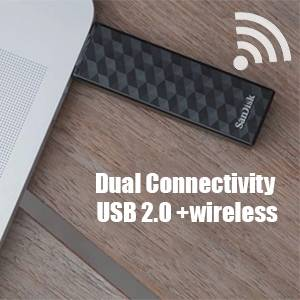 can be connected with USB 2.0 port or wirelesslywith mobile phones
