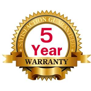 5 year warranty for hassle free experience