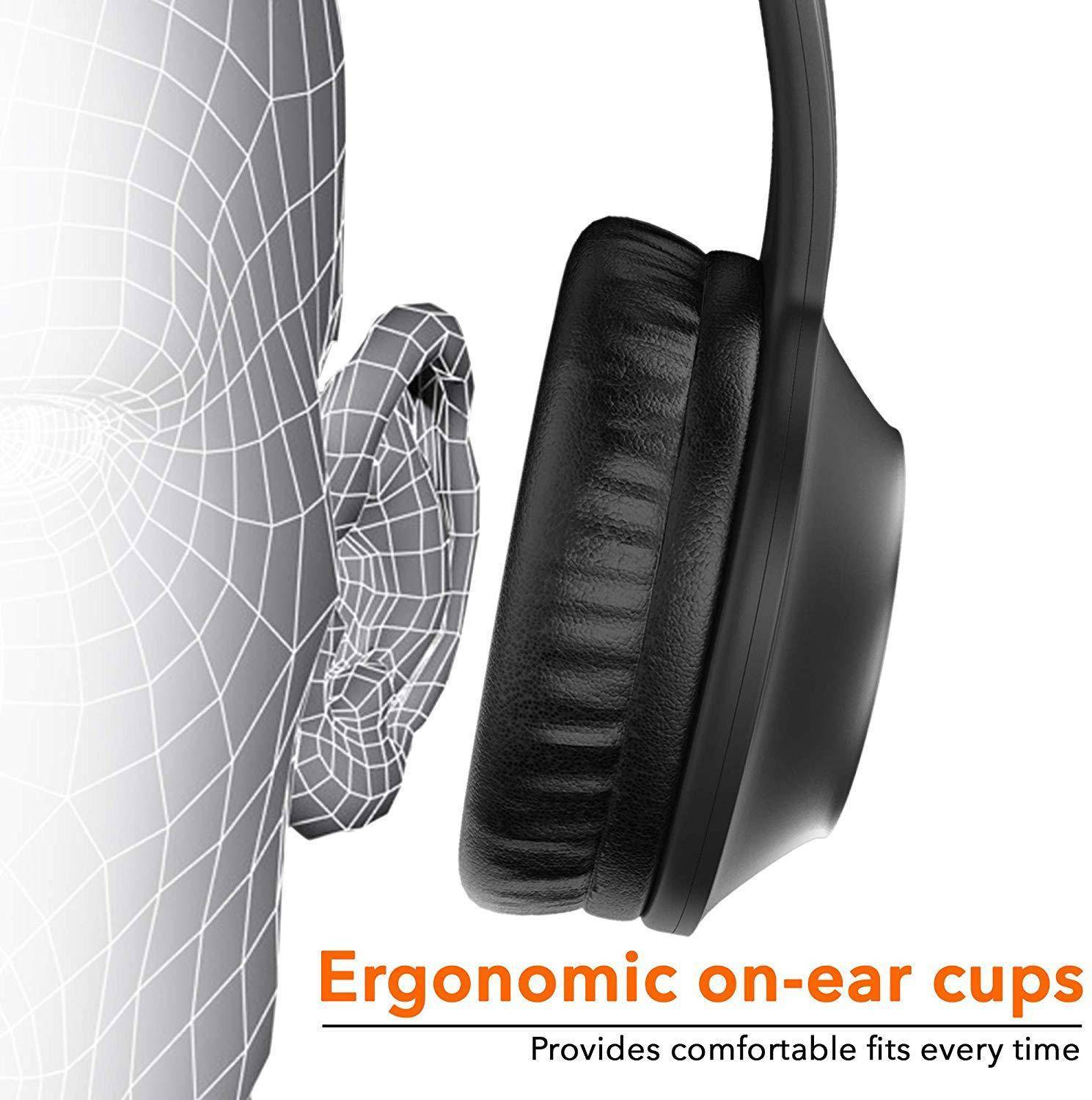 On-ear design with cushions